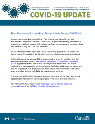 COVID-19 Best practices for expired status cards